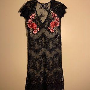 Black, lace coverup
